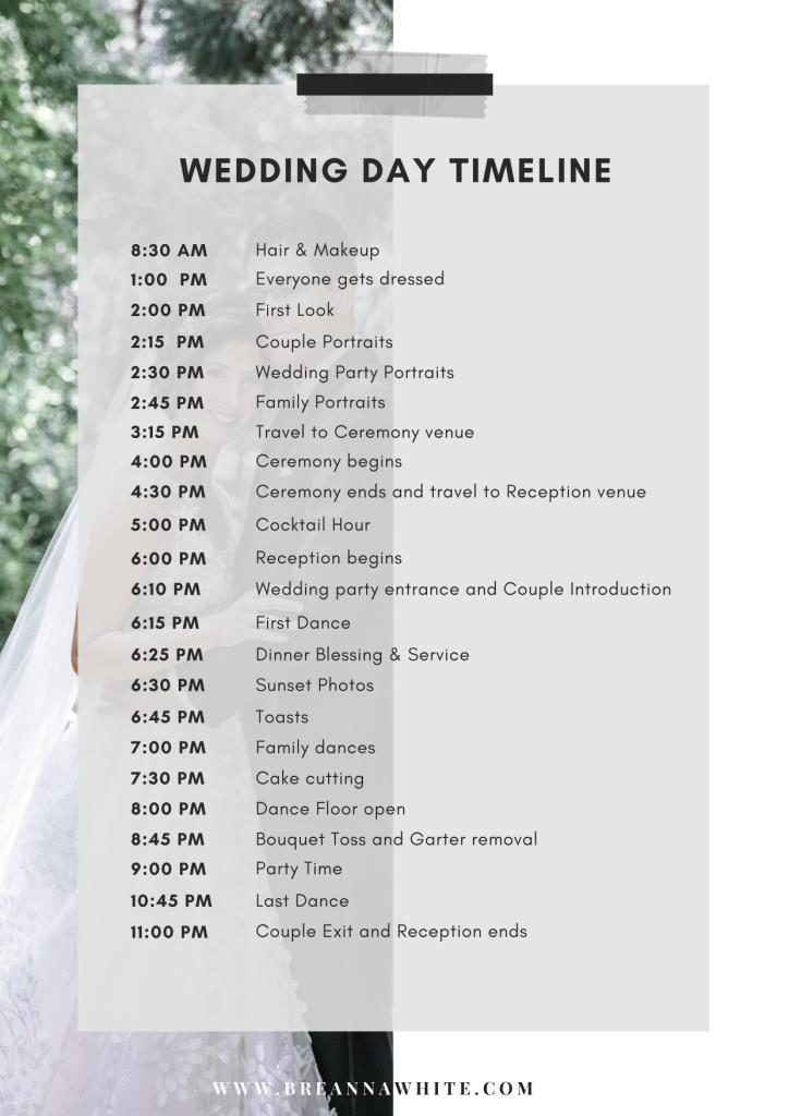5 Tips On How To Create The Perfect Wedding Timeline Breanna White
